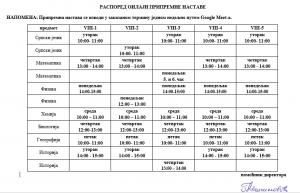 raspored pripremne nastave